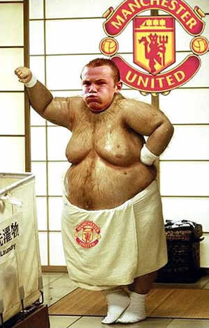 Wayne Rooney as a fat character.