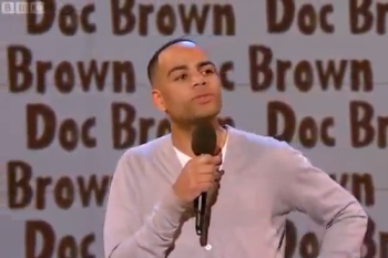Doc Brown rapping on BBC3 Good News show.