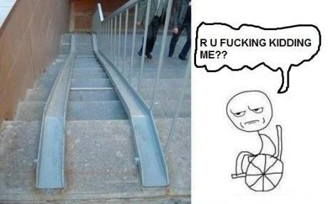 Funny disabled ramp on stairs