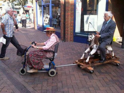 Two old people going shopping