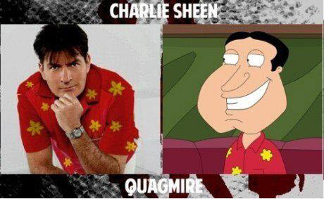 Charlie Sheen and Glenn Quagmire